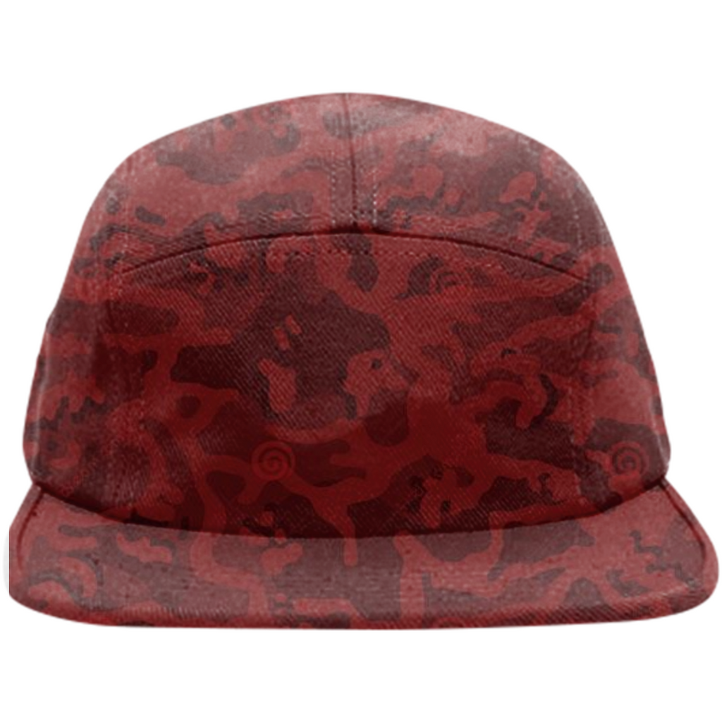 army red texture design on hats
