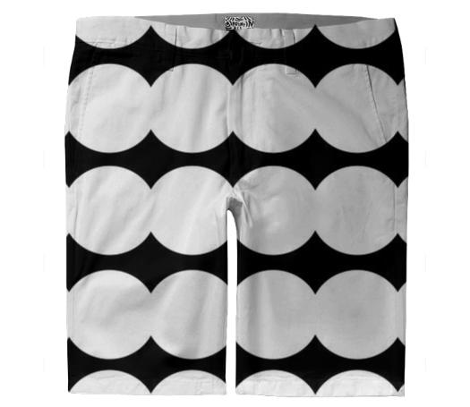 TROUSER SHORTS BLACKWHITE CIRCLES
