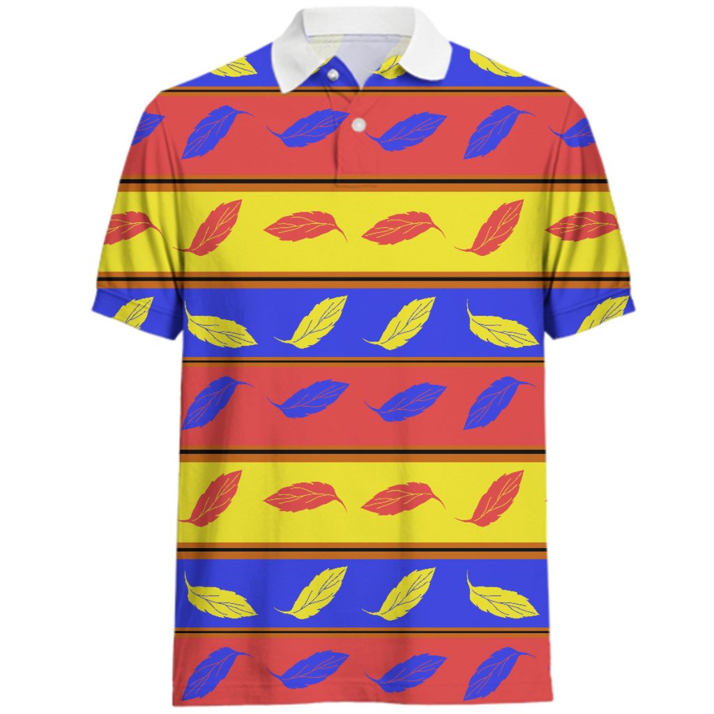 Red Yellow Blue Leaves Polo Shirt