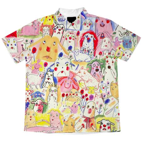 PAOM, Print All Over Me, digital print, design, fashion, style, collaboration, gentlethrills, Short Sleeve Workshirt, Short-Sleeve-Workshirt, ShortSleeveWorkshirt, DOGS, shirt, spring summer, unisex, Cotton, Tops