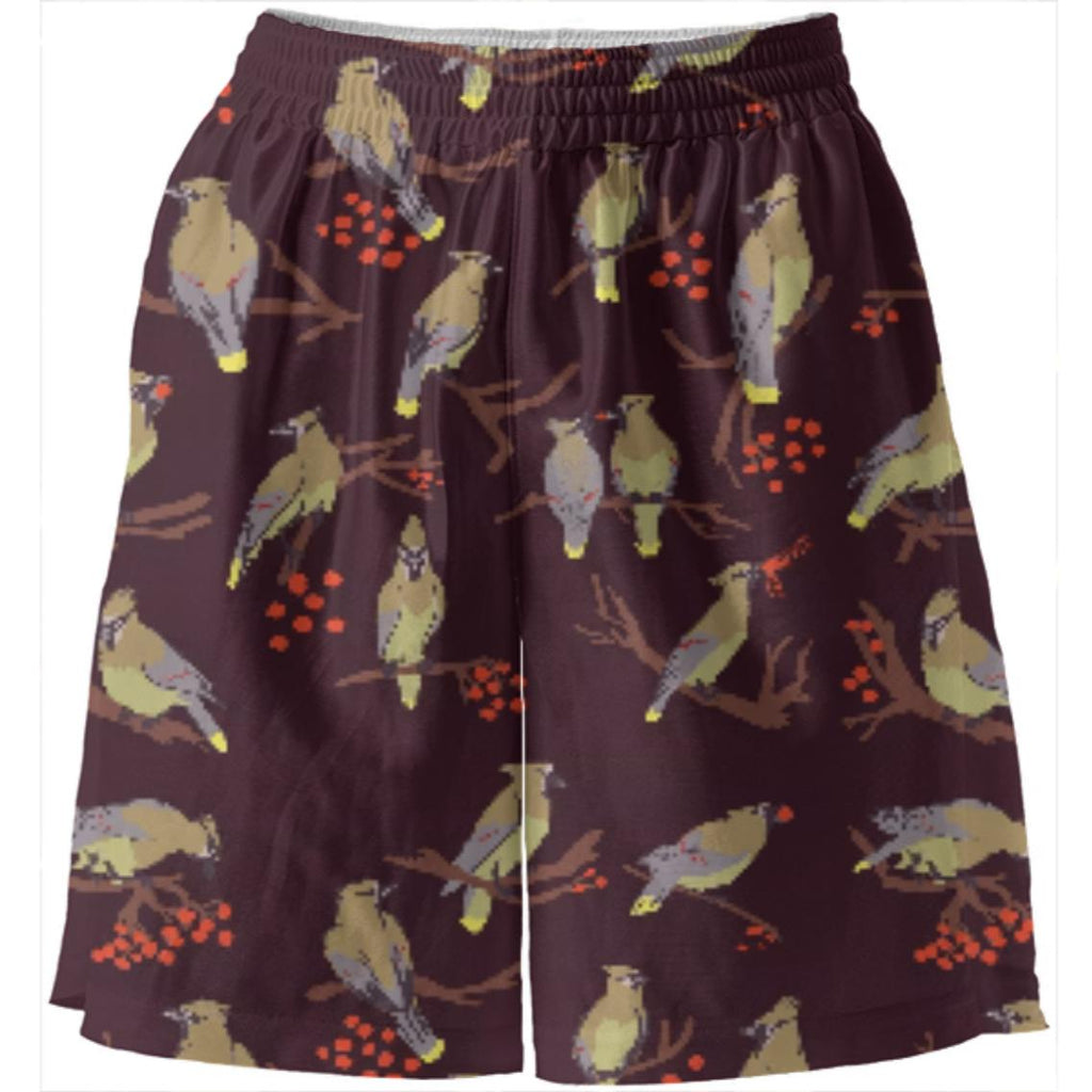 Cedar Waxwings Dark Red Basketball Shorts