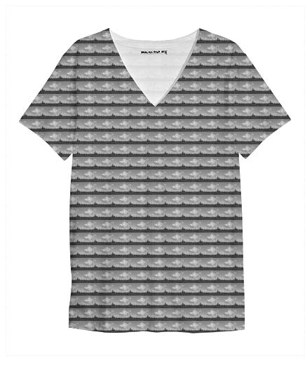 Abandoned Pattern V Neck Shirt