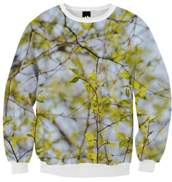 Spring Pattern Ribbed Sweatshirt