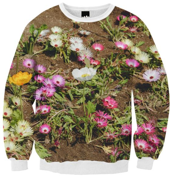 Flowers Ribbed Sweatshirt