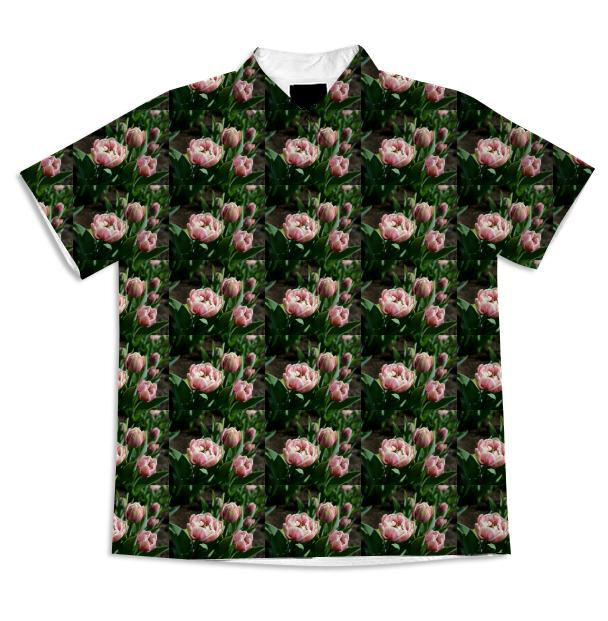 Tulips Pattern Short Sleeve Blouse