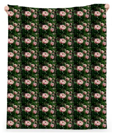 Tulips Pattern Linen Beach Throw