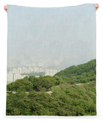 Seoul View Linen Beach Throw