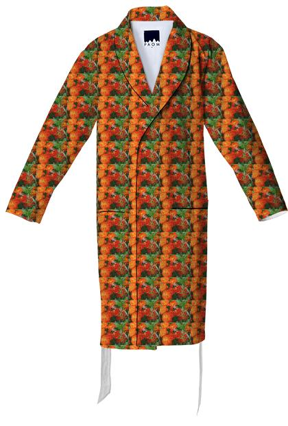 Bumblebee on Marigold Pattern Cotton Robe