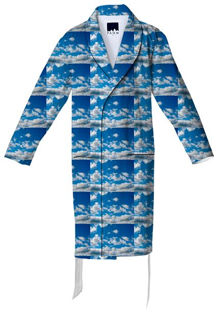 Bright Blue Sky Pattern Cotton Robe