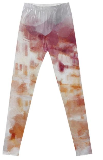 Fisherman s Town Abstract Watercolor Legging