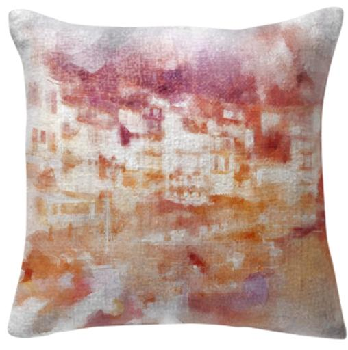 Fisherman s Town Abstract Watercolor Pillow