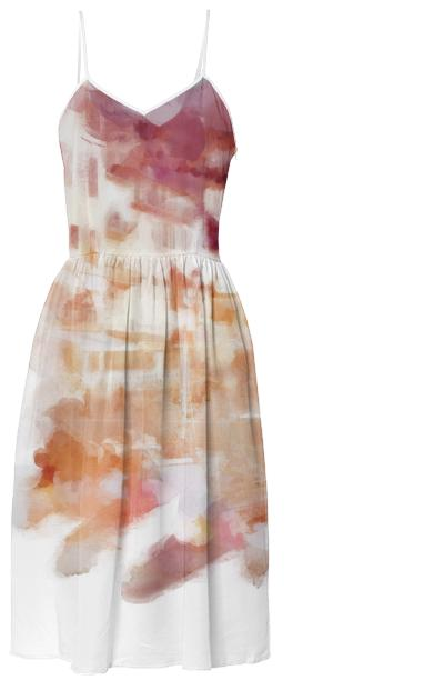 Fisherman s Town Abstract Watercolor Summer Dress