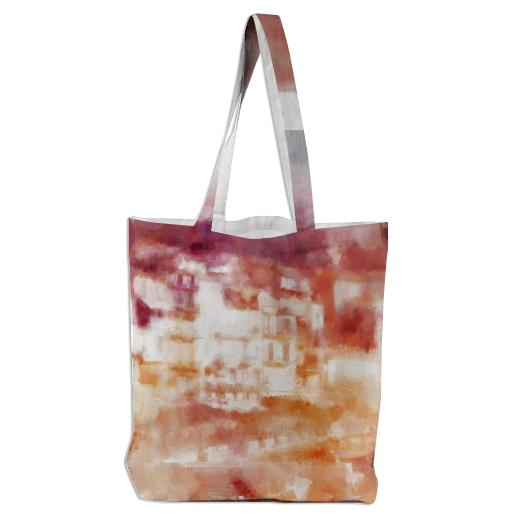 Fisherman s Town Abstract Watercolor Tote Bag