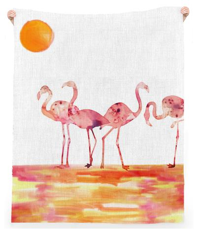The Wading Flamingos Linen Beach Throw