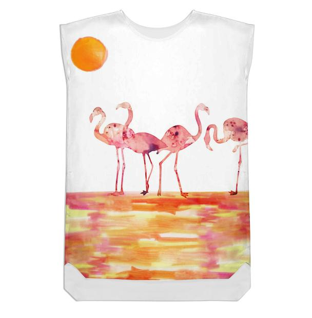 The Wading Flamingos Shift Dress