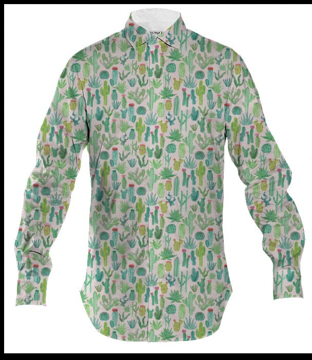 PAOM, Print All Over Me, digital print, design, fashion, style, collaboration, abeeabb, Men's Button Down, Men's-Button-Down, Men'sButtonDown, Cactus, Shirt, autumn winter spring summer, mens, Cotton, Tops