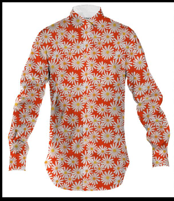 PAOM, Print All Over Me, digital print, design, fashion, style, collaboration, abeeabb, Men's Button Down, Men's-Button-Down, Men'sButtonDown, Orange, Daisy, Mens, Shirt, autumn winter spring summer, mens, Cotton, Tops