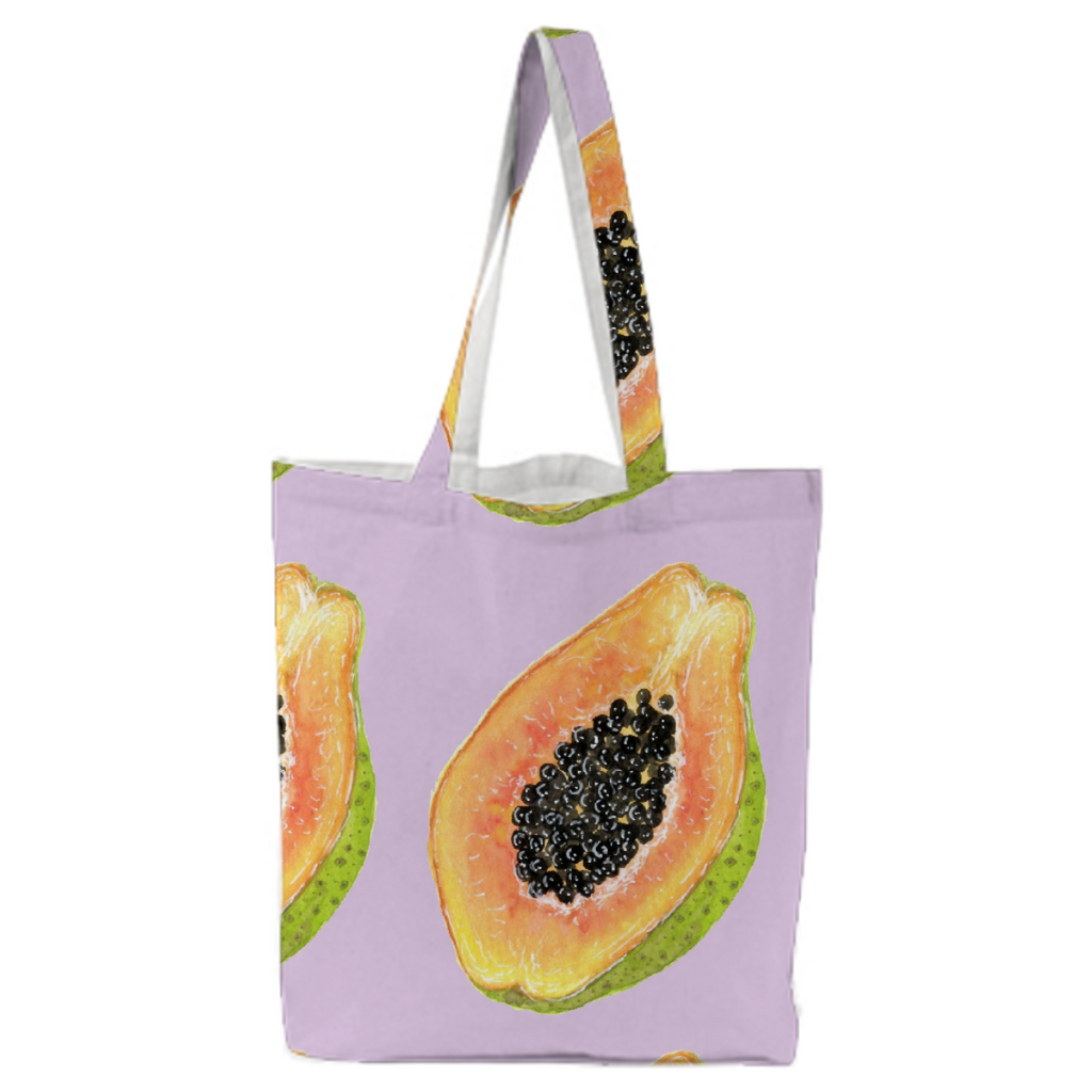Papaya on Lavender Tote Bag StitchPrism