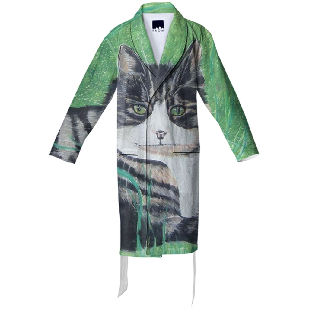 Striped Cat Cotton Robe