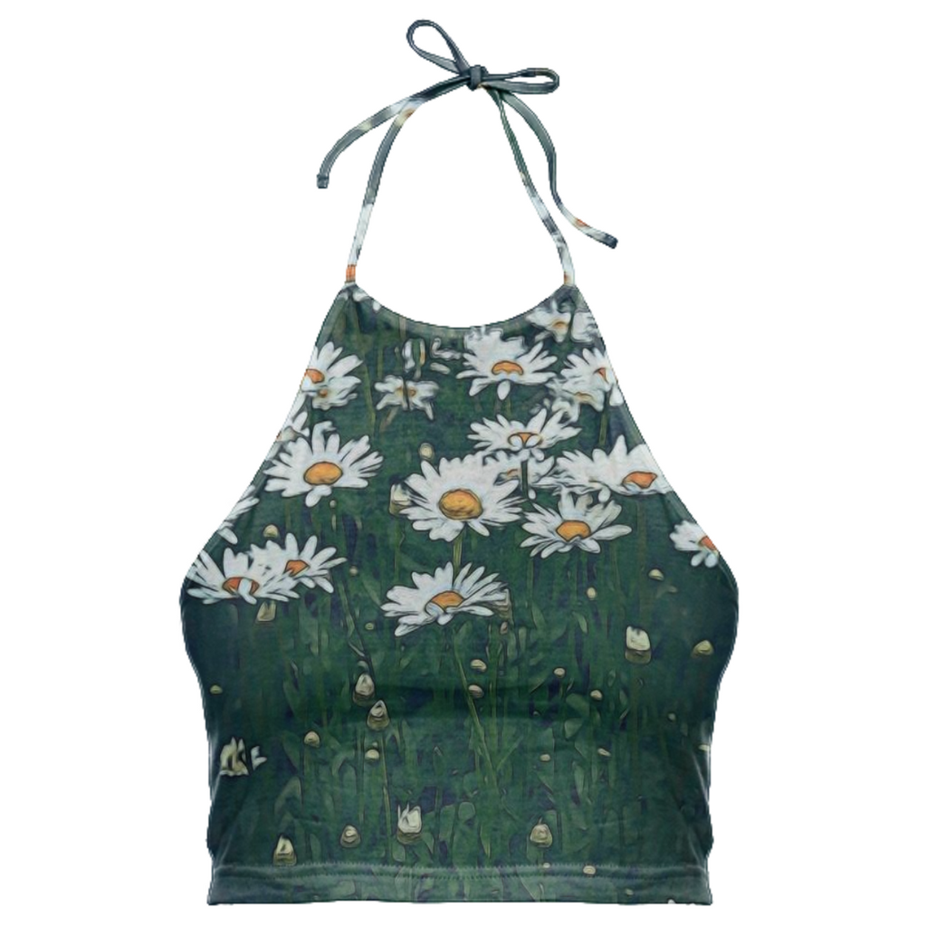 White Field Of Daisies Halter Top