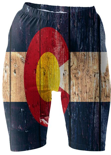 Rustic wood Colorado flag bike shorts