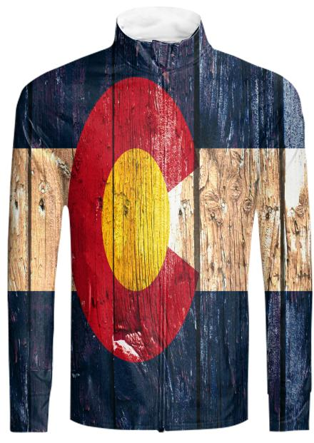 Rustic wood Colorado flag track suit jacket