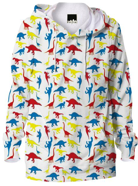 Red yellow blue dinosaurs hoodie