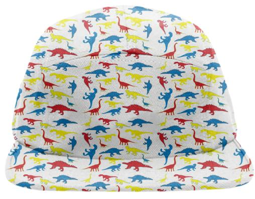 Red yellow blue dinosaurs hat