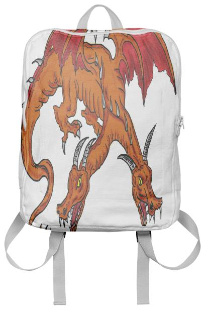 Orange double headed dragon backpack