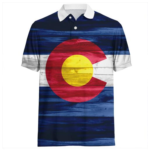 Wood Colorado flag polo shirt