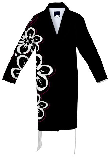 Messy black white pink flowers cotton robe