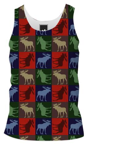 Colorful rustic moose four square tank top