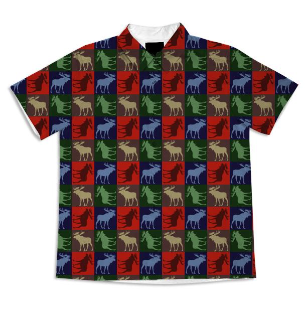 Colorful rustic moose four square button shirt