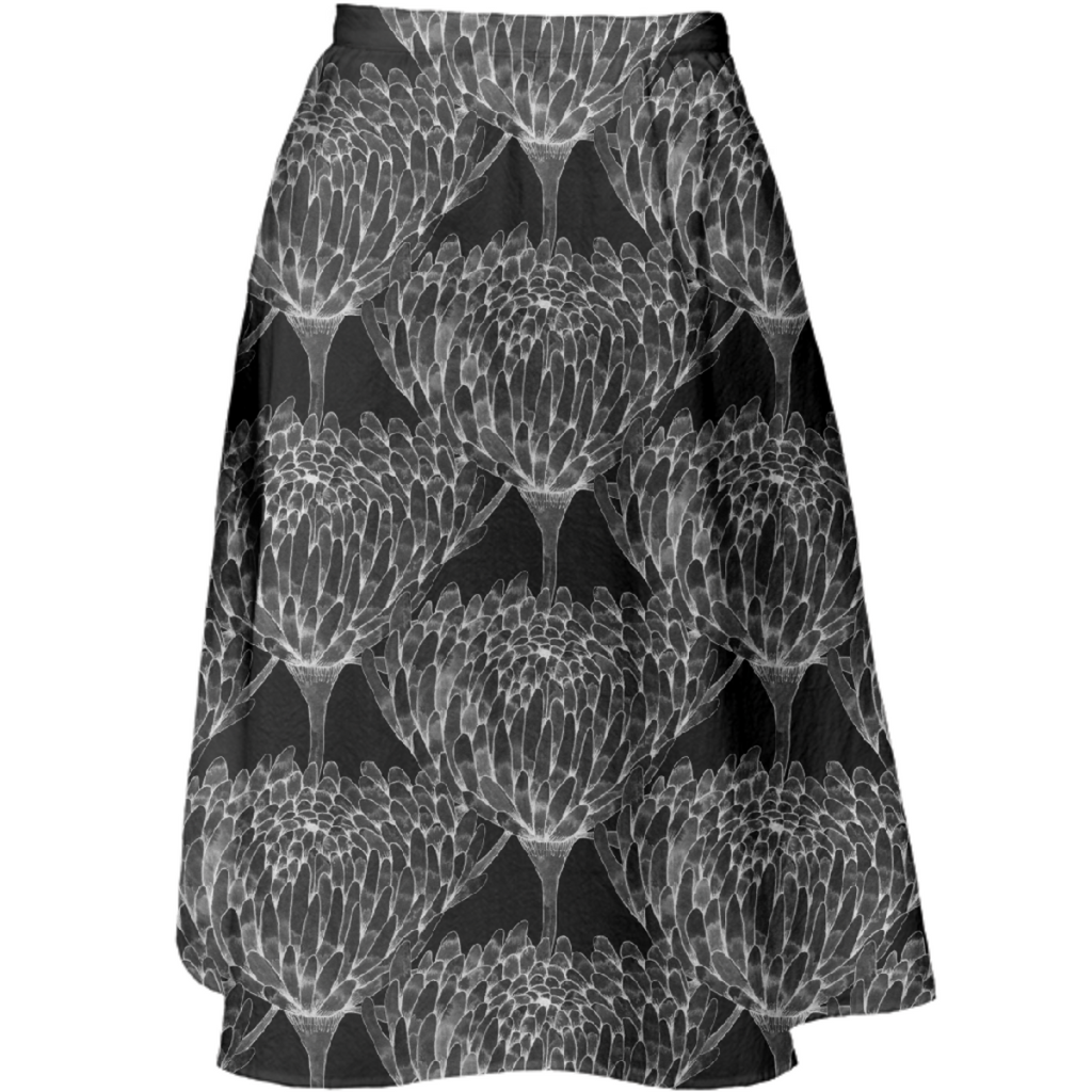 Chrysanthemum Crowd Black on black Midi Skirt