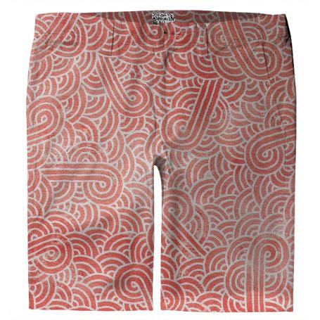 Peach echo and white swirls doodles Trouser Shorts