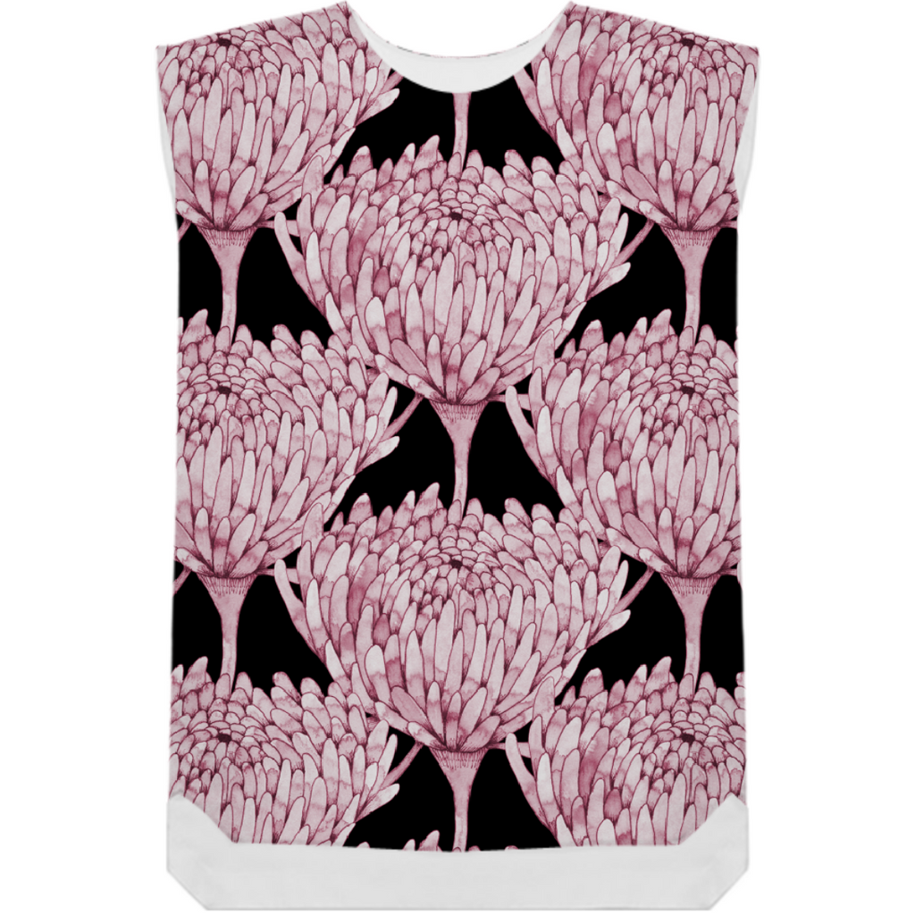 Chrysanthemum Crowd Dusky Pink on black Shift Dress