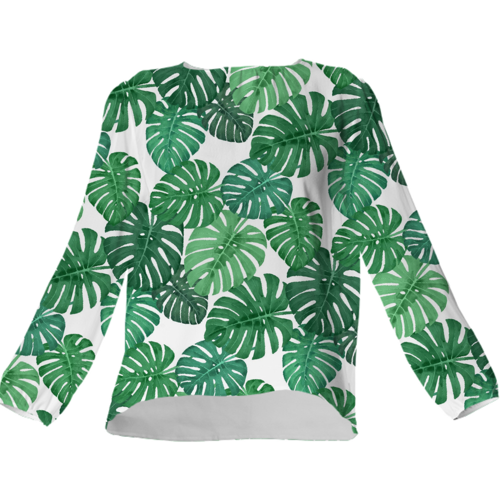 Monstera Jungle Silk Top by Frank-Joseph