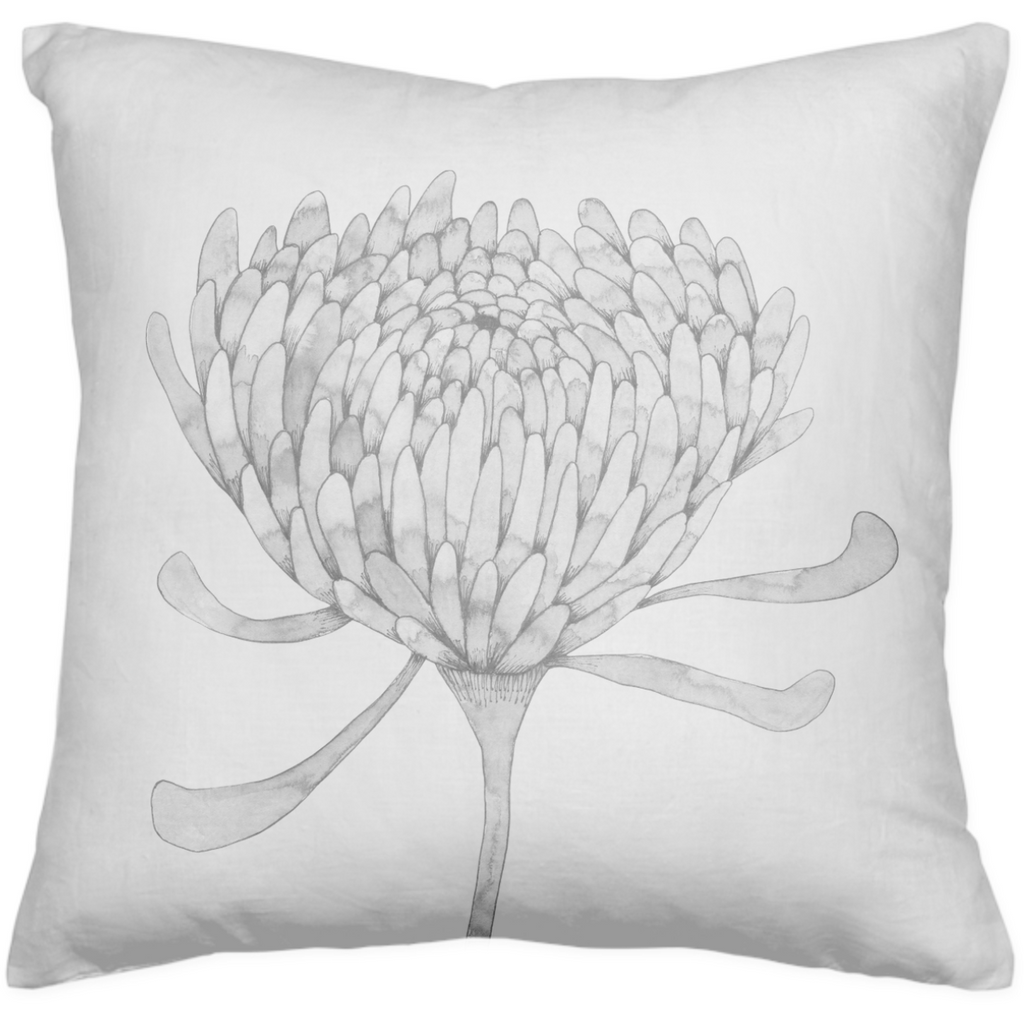 Ink Chrysanthemum Throw Pillow