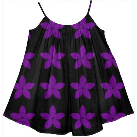 Black and Purple Floral Print Kids Tent Dress