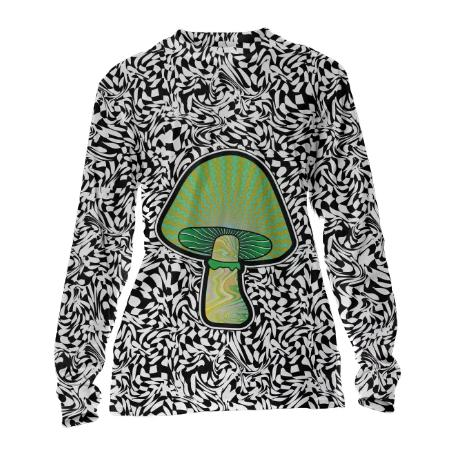 PAOM, Print All Over Me, digital print, design, fashion, style, collaboration, paomcollabs, Cuffed Long Sleeve, Cuffed-Long-Sleeve, CuffedLongSleeve, Green, Shroom, autumn winter, unisex, Poly, Tops