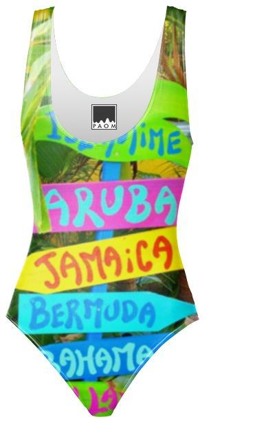 Hawaii Style One Piece Swimsuit
