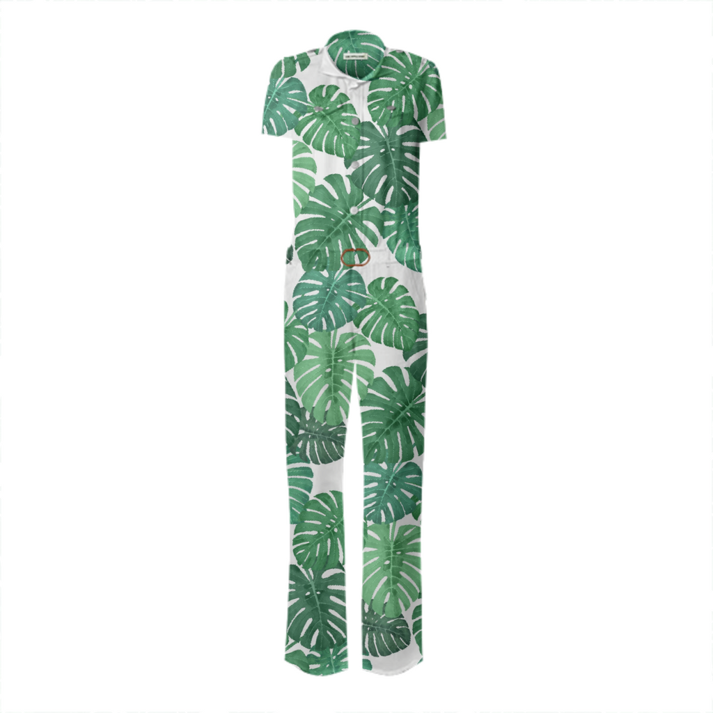 Monstera Jungle Belted Jumpsuit by Frank-Joseph