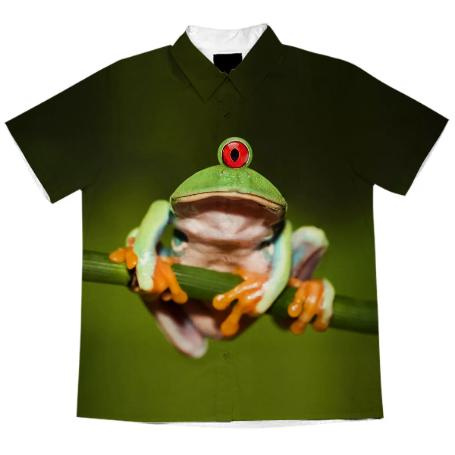 Funny Conceptual Cyclopic Frog Short Sleeve Blouse