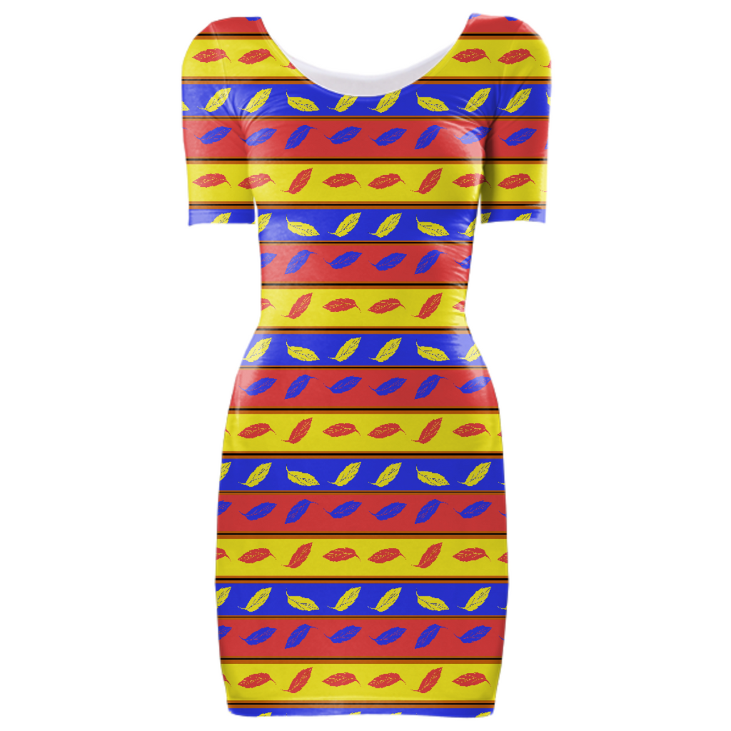 Red Yellow Blue Leaves Bodycon Dress