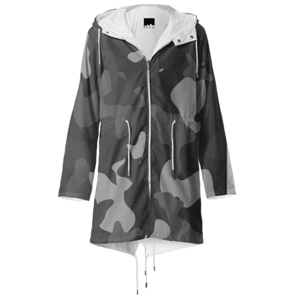 army texture design on raincoat