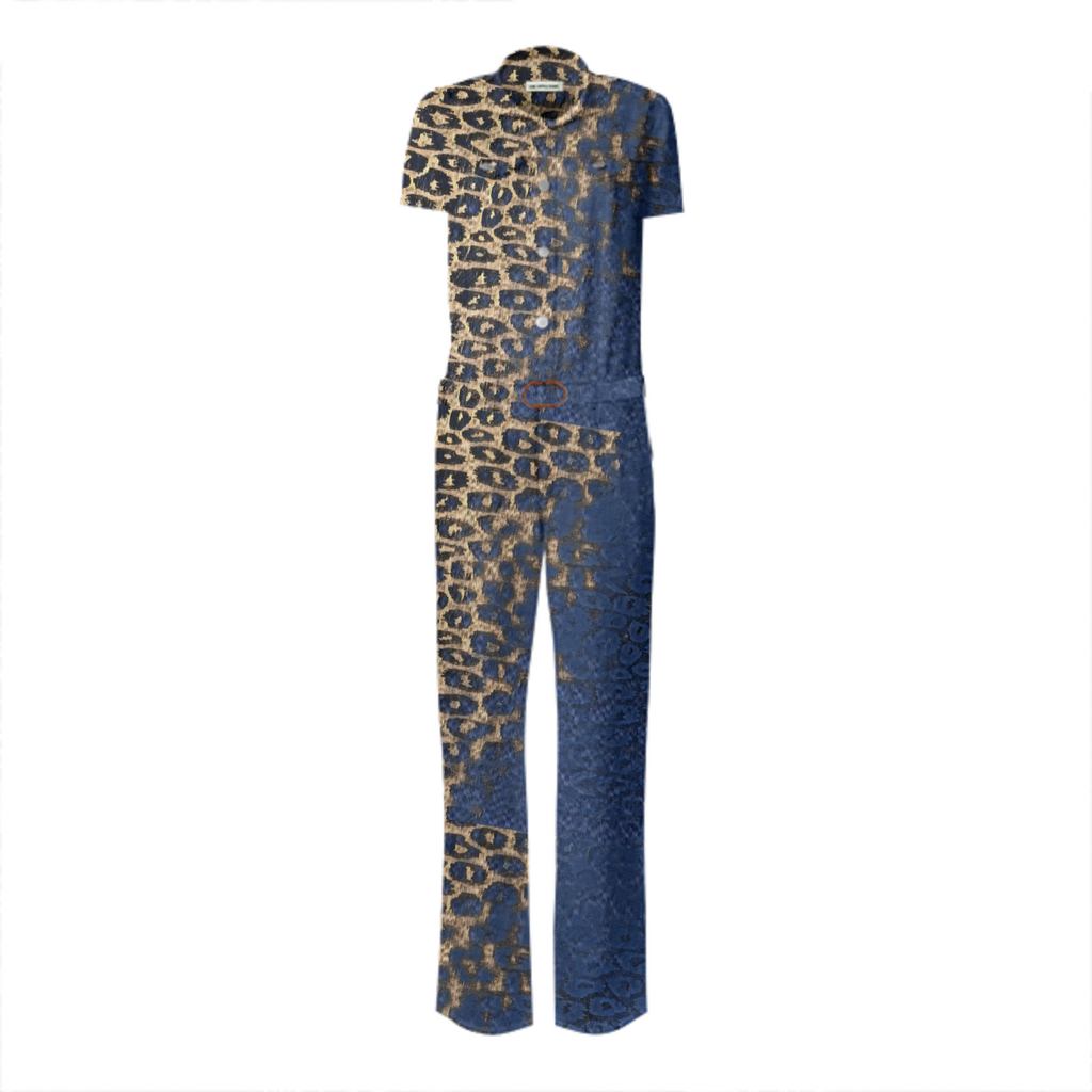 Blue Cheetah Belted Jumpsuit