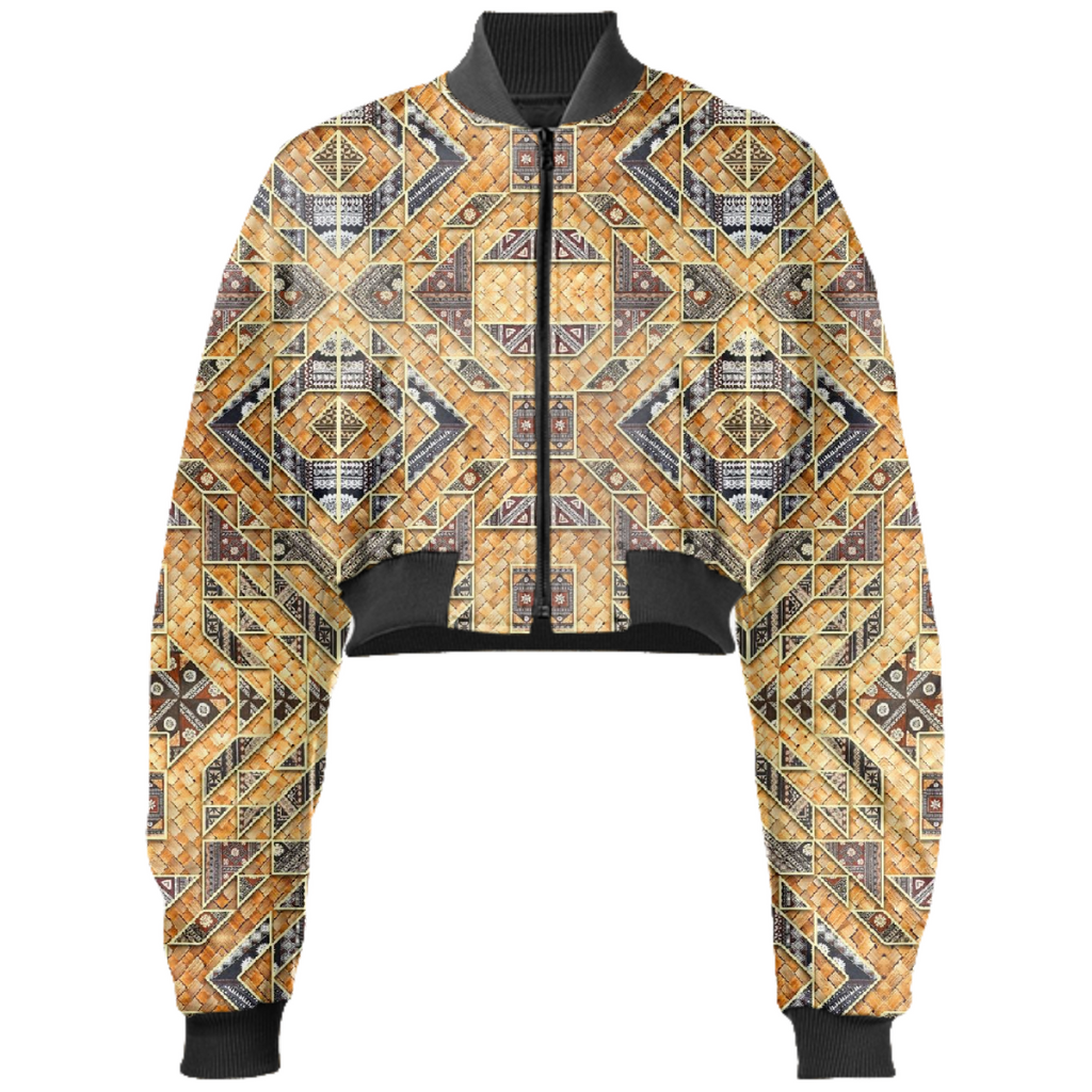 PAOM, Print All Over Me, digital print, design, fashion, style, collaboration, babyboofiji, Gabriel Held Cropped Bomber Jacket, Gabriel-Held-Cropped-Bomber-Jacket, GabrielHeldCroppedBomberJacket, Fiji, Masi, Palm, Leaf, Woven, Matt, autumn winter, unisex, Neoprene, Outerwear