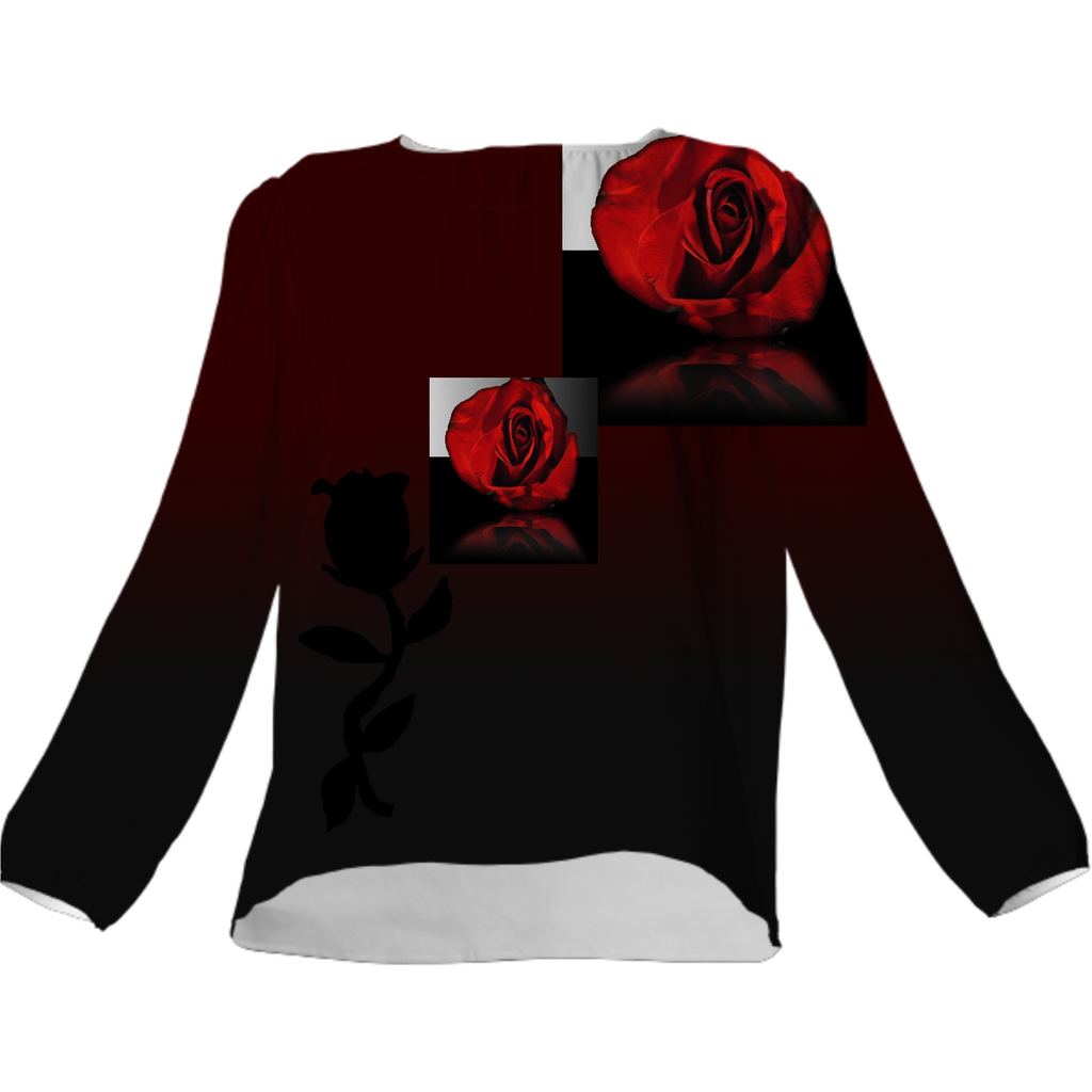 Red Rose Reflection Silk Top