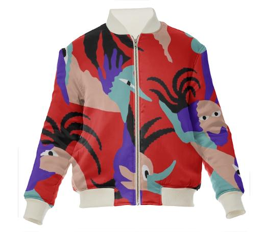 Birds of paradise Silk bomber jacket