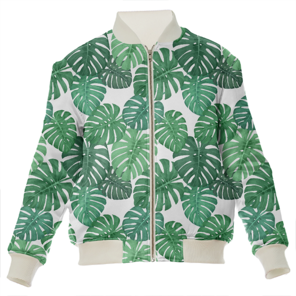 Monstera Jungle Silk Bomber Jacket by Frank-Joseph